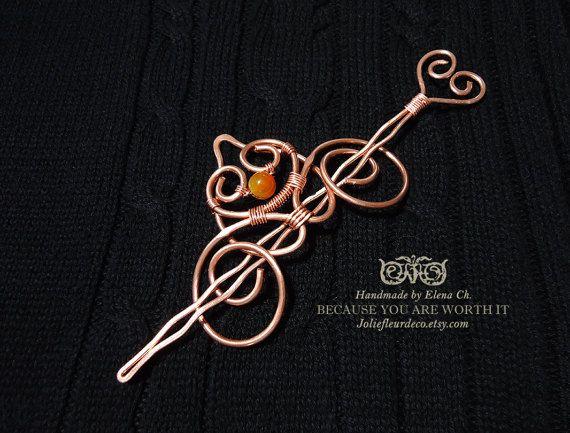 Medium Copper Hair Clip, Copper Hair Barrette, Orange Agate Hair Stick, Agate Hair Jewelry, Hair Accessories Gemstone Jewelry, Hair Pin