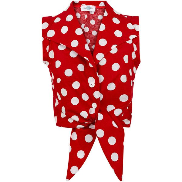 The Tie-front Shirt Red with White Spots ($71) ❤ liked on Polyvore featuring tops, shirts, tank tops, white summer tops, red shirt, white sleeveless top, sleeveless shirts und white polka dot shirt