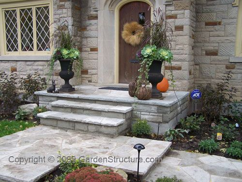 """Front steps - I wonder if you could just """"reface"""" existing concrete steps?"""