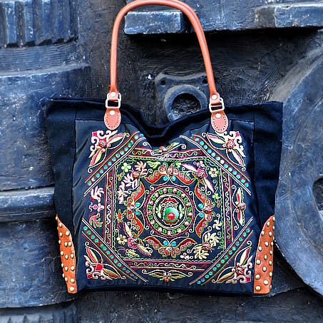 Hand Made bag/ Embroidery Tote Bag/Casual bags/Fashion bag/Travel package/Shop tote bag/Women bag/Embroidered Tote Bag /single shoulder bag. $68.99, via Etsy.