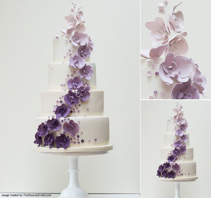 Purple bands and fresh roses turned the white five-tiered round cake into an eye-catching display. Description from thebeautybridal.com. I searched for this on bing.com/images