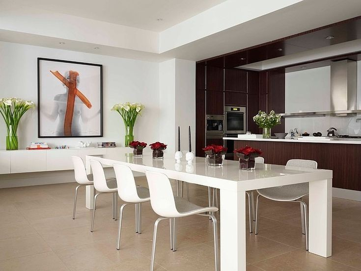 Dining Room, White Dining Table In Minimalist Style Plus Simple Dining  Chairs Applied In Contemporary Dining Room Design: Get The Dining Room  Design That ...