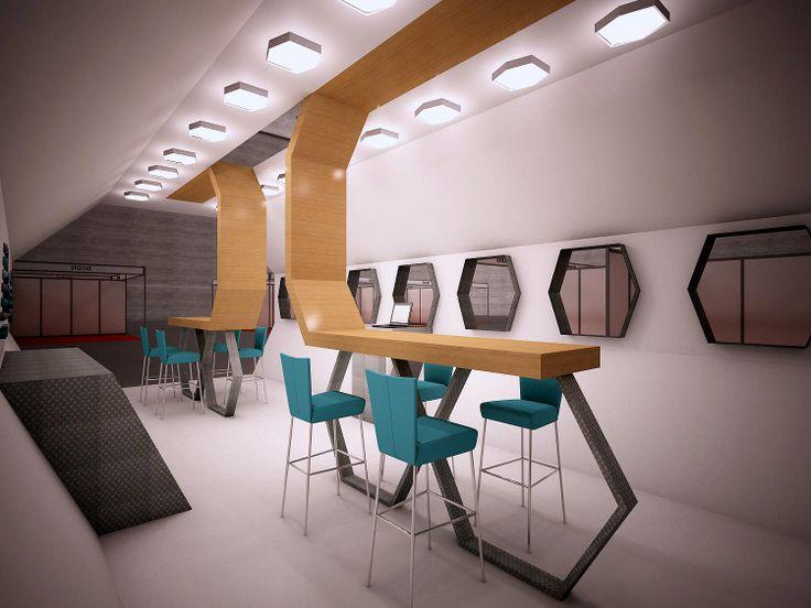 Stand de formas exagonales, con aperturas laterales, zona de recepción y de atención rápida.
