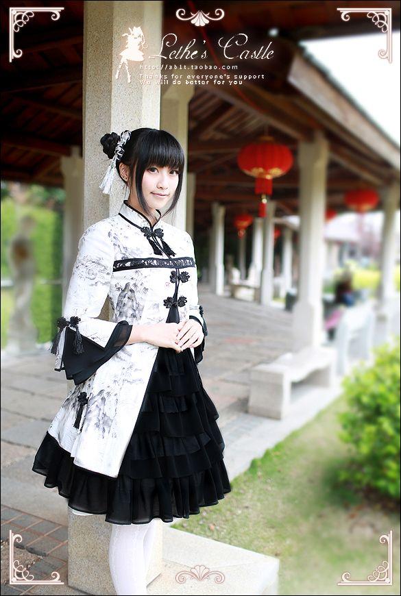 [Spot] * YaoShan Aeolus * China Wind lolita Sleeve Ink Dragon OP * Dress - Taobao