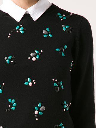 Nina Ricci cropped embellished knit top