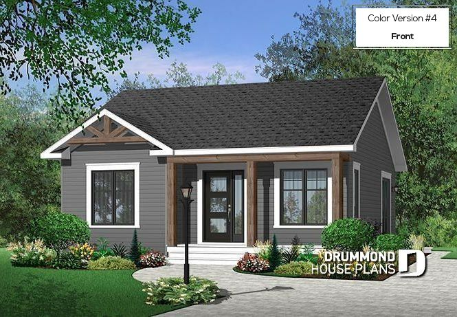 Color Version 4 Front Economical 2 Bedroom Modern Rustic Bungalow House Plan 2 Bedrooms Small House Exteriors Cottage Style House Plans Cottage Style Homes