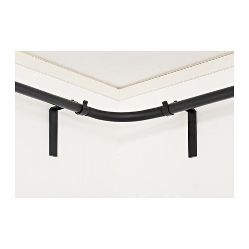 Bay window rod solution.   HUGAD Curtain rod corner connector - black - IKEA