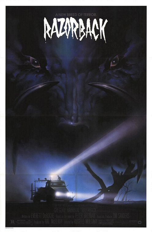 "Razorback (1984) - I heard one reviewer once call it ""Jaws on land and with a giant pig"" and that pretty well sums it up. I'm not going to say anything along the lines of this being a great movie, it's not – but it is a LOT of fun. Combining an interesting premise with lots of cheesy 80's special effects Razorback sees our giant porcine friend tearing apart cars and buildings to ravage those inside and what it lacks it technical mastery it more than makes up for in pure cheesy enjoyment"