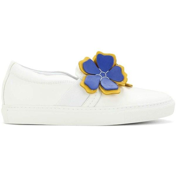 Lanvin Embellished leather slip-on sneakers ($585) ❤ liked on Polyvore featuring shoes, sneakers, slip on shoes, slip on trainers, slip-on shoes, slip on sneakers and white slip on shoes