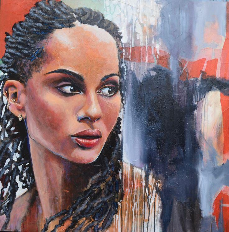 Zoe 80X80 cm. Acrylic on canvas. Made by naja Duarte.