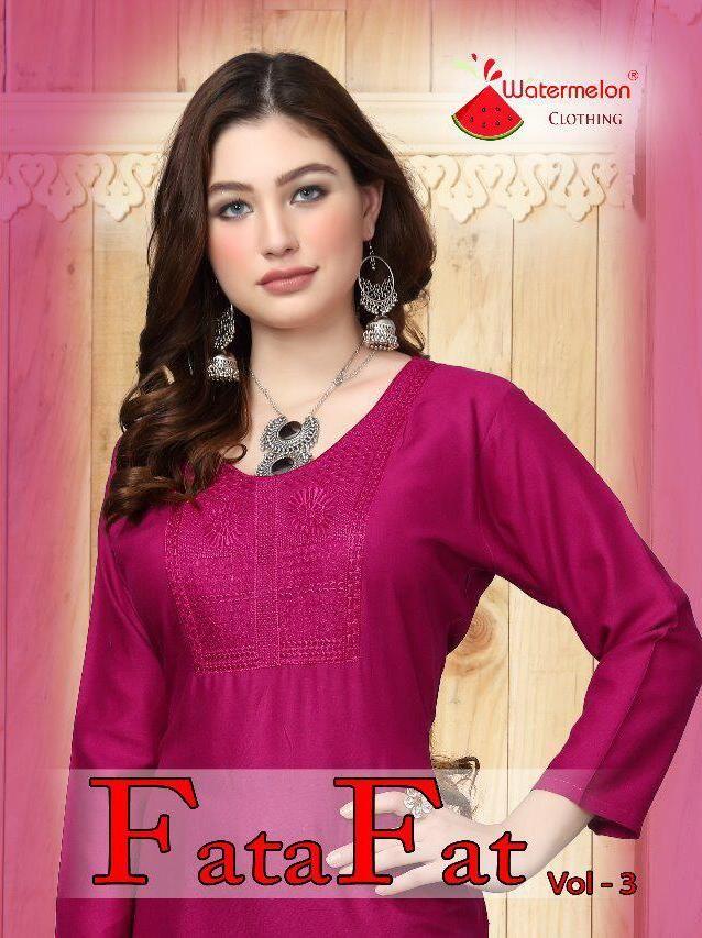 d3f2763d77 Watermelon Clothing Fata Fat Vol 3 Designer Rayon Straight Readymade Kurtis  Dealer Surat
