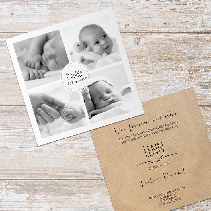 Carte de remerciement pour la naissance avec espace pour de superbes photos et optique en papier kraft   – Geburtskarten