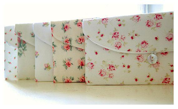 Shabby chic roses bridesmaid clutch Set 3 4 5 6 by hoganfe on Etsy