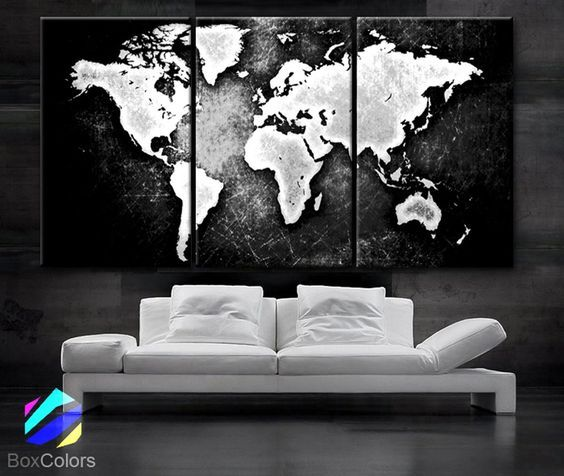 """LARGE 30""""x 60"""" 3 Panels 30""""x20"""" Ea Art Canvas Print World Map Black & White Contrast Wall Home Office decor interior (Included framed 1.5"""" depth)"""