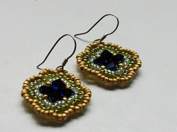 Spring Swarovski beadwork drop earrings in dark blue by SandyYuDesign, $18.00