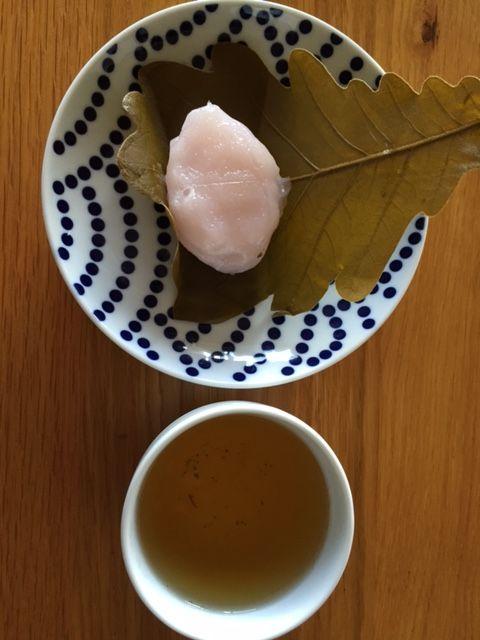 Kashiwa mochi and Houjicha