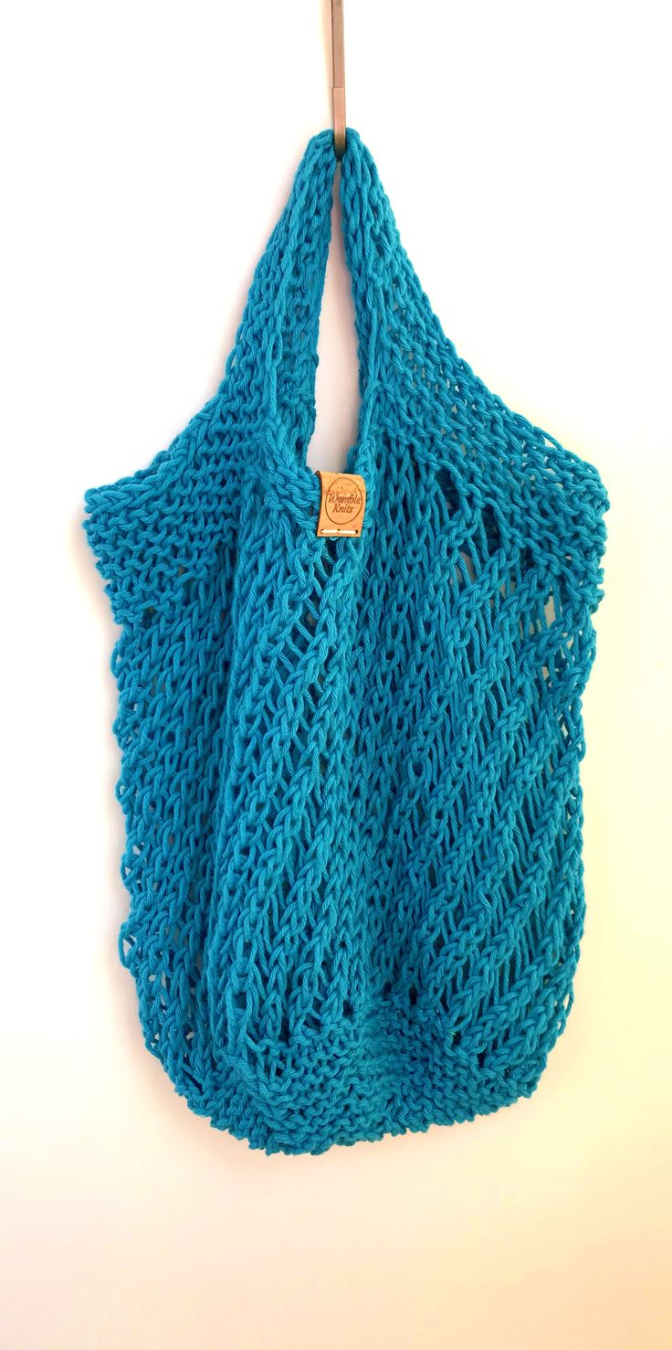 Blue cotton reusable mesh grocery bag, hand knitted zero
