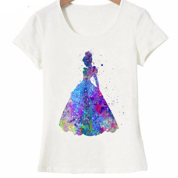 Watercolor Disney Inspired Cinderella T Shirt Womens Princess
