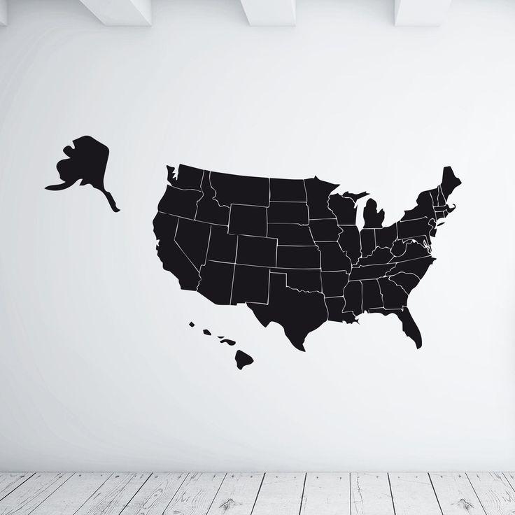 """lavagnetta decorativa da parete """"USA map"""" scrivibile con gessetti, adesiva adatta a tutte le superfici sufficientemente lisce"""