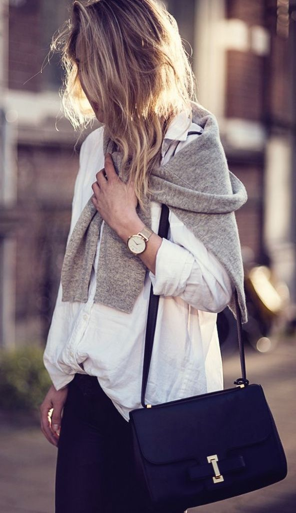 engagement setting street style  monochrome casual outfit