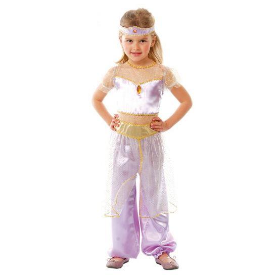 Paars Arabische prinses kostuum voor meisjes. Paarse Arabische prinses kostuum inclusief hoofdband. Materiaal: 100% polyester.