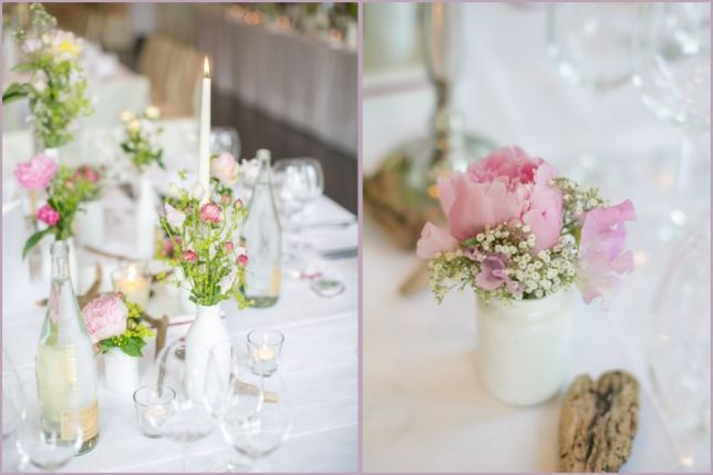 rosa mit weien Flaschen  Hochzeitsblumen  Hochzeit deko Hochzeitsblumen und Ideen fr die