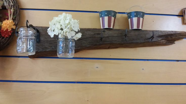 Ships Free! Reclaimed Wooden Timber Indoor Outdoor Garden Mantel. Wrought Iron Hooks for Hanging Plants, Antique Shutter Pegs to Hang Tool's by TheRustyBucketVT on Etsy