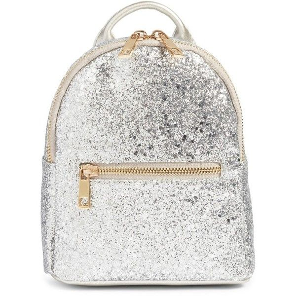 Women's Mali + Lili Glitter Faux Leather Backpack ($54) ❤ liked on Polyvore featuring bags, backpacks, silver, backpack bags, white faux leather backpack, mini bag, faux leather mini backpack and white mini backpack
