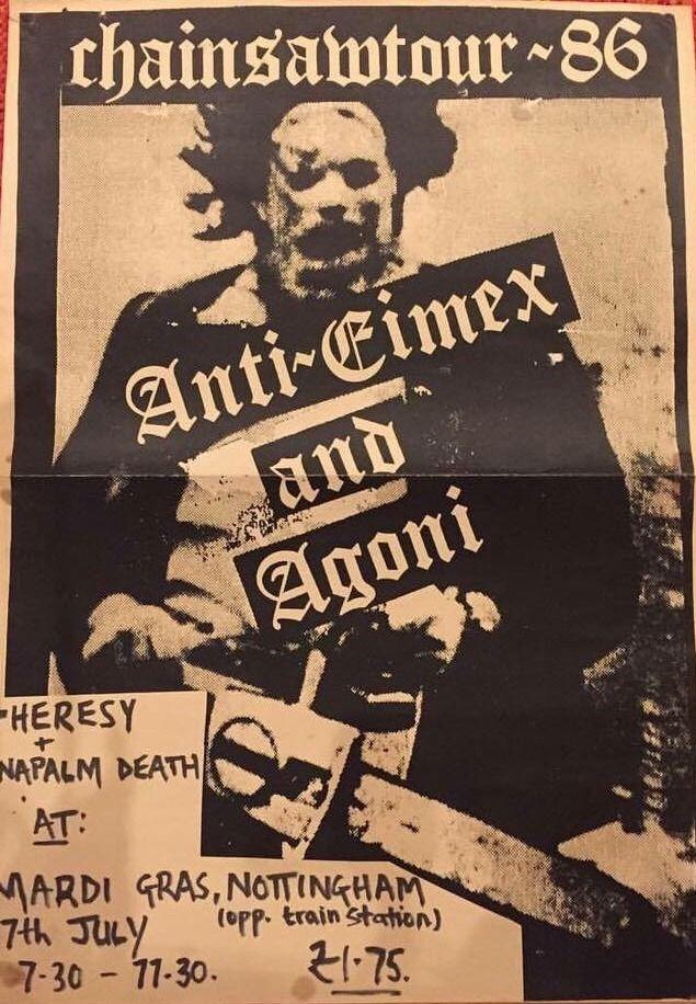 CHAINSAWTOUR 86' ANTI CIMEX. AGONI. HERESY. NAPALM DEATH.