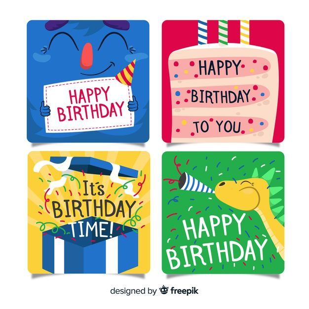 Download Flat Design Birthday Card Collection For Free Editable Birthday Cards Birthday Card Drawing Birthday Cards