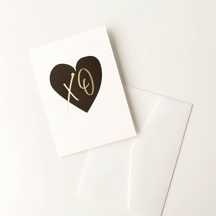 New 'Heart XO' card printed with love on an antique Heidelberg print press hot foil stamped in gold foil.