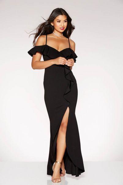 Ex Quiz Black Ruffle Cold Shoulder Maxi Dress Uk Sizes 6-18