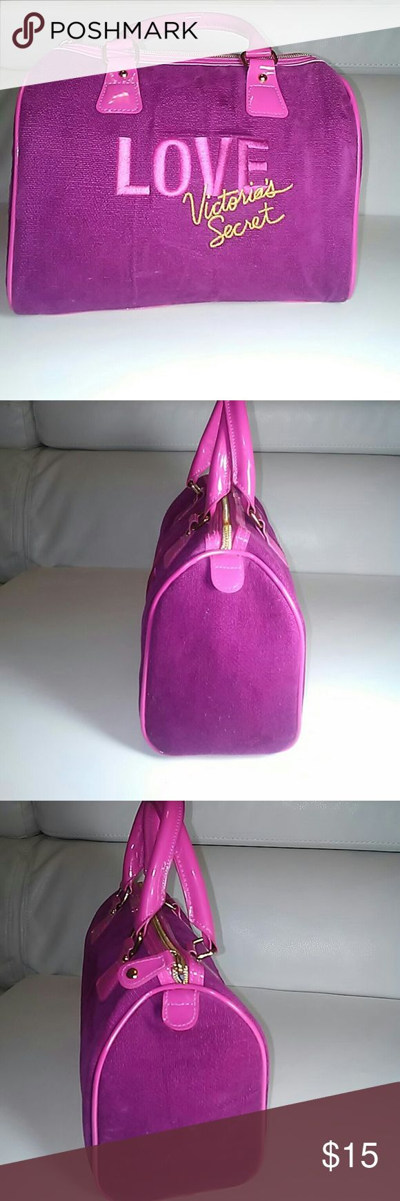 New no tags Victoria Secret velvet bag Pink on the bottom wine color material like velcet  Inside looks pink super clean no odors tears no damage bag was in plastic vacum bag in dry place . The size is 8 inches long 9 inches wide 4 inches deep  See pics or ask any questions Victoria Secret Bags Mini Bags