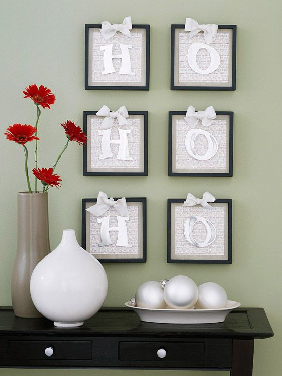 Holiday Message Wall Decoration : Decorate a wall with a message made of thin metal letters adhered to a background of striped and printed papers. Hang in identical frames topped with pretty ribbon bows.