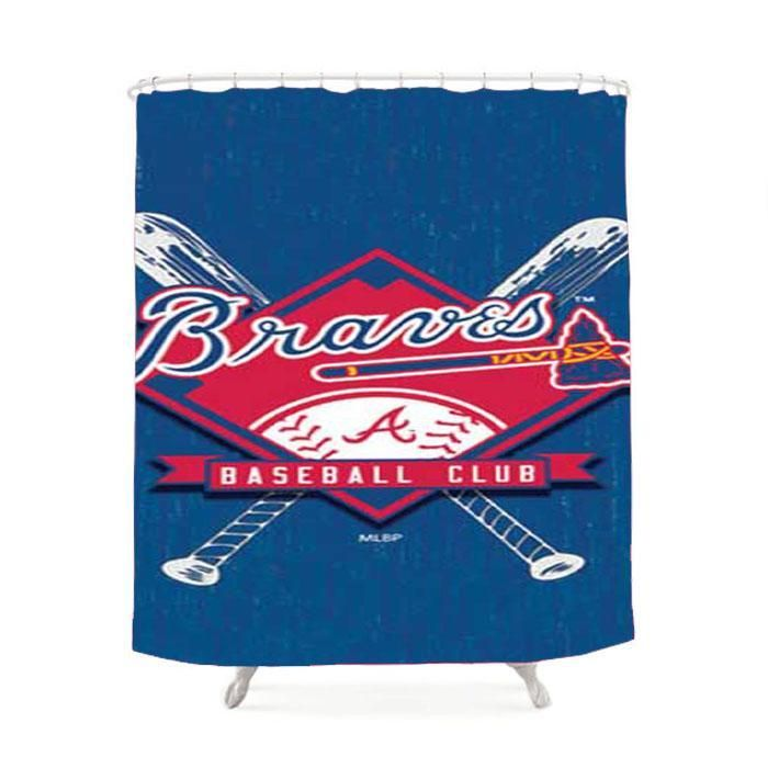 Atlanta Braves Logo On Wood Shower Curtain
