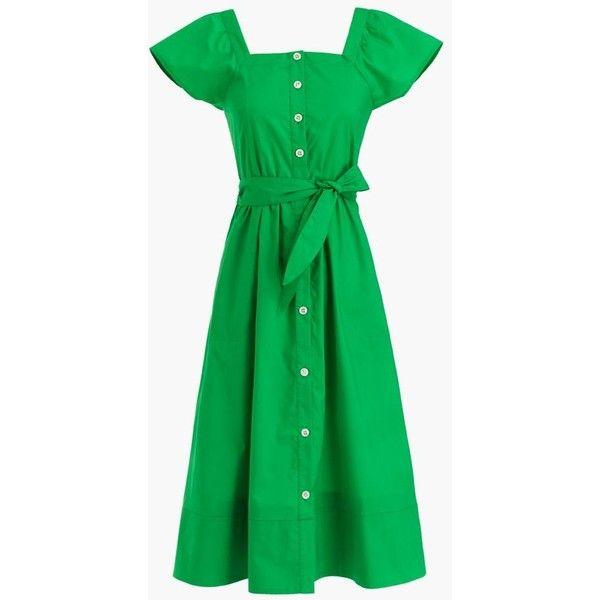 J.Crew Short-Sleeve Shirtdress ($130) ❤ liked on Polyvore featuring dresses, short sleeve cotton dress, green a line dress, green dress, t-shirt dresses and cotton shirt dress