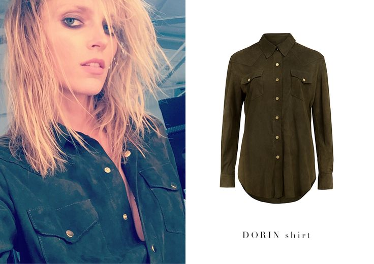 Anja Rubik wearing La Mania's suede DORIN shirt - one of this season's biggest trend!  #LaMania #AnjaRubik