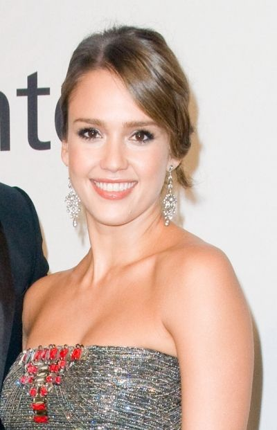 Jessica Albas side-swept updo hairstyle