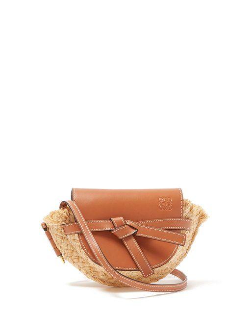 050aaffe5 Loewe Gate mini leather and raffia cross-body bag | accessorize ...
