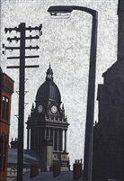 """Leeds Town Hall, 1972""..Artwork by Local artist, Stuart Walton, born in Dewsbury, 1933.."