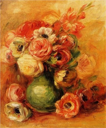 """""""Flowers""""  --  1901  --  Pierre-Auguste Renoir  --  French  --  Oil on canvas  --  Private Collection"""