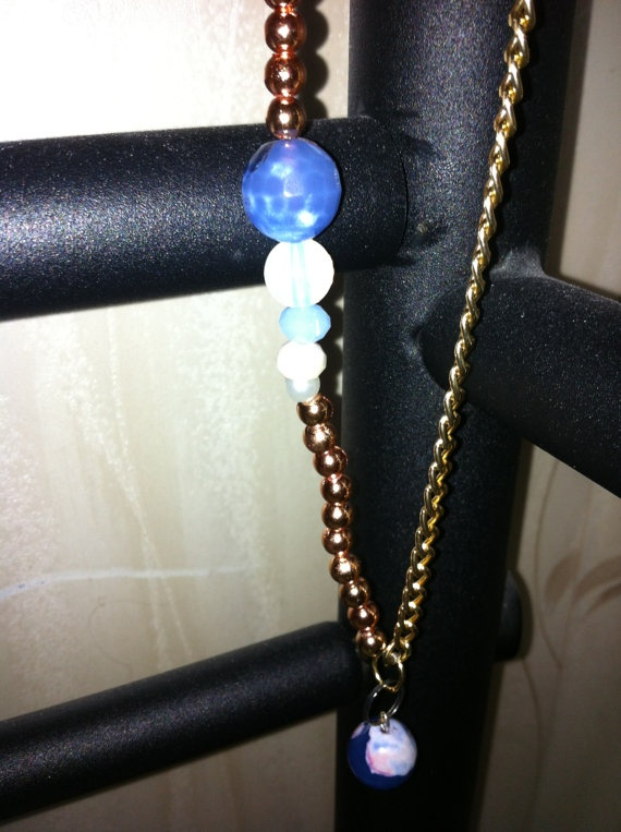 Mixed metal and gemstone necklace by SapphiresandSilver on Etsy, $29.99