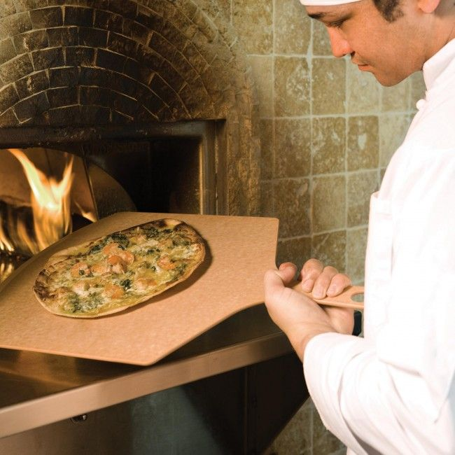 urn your kitchen into a pizzeria! Epicurean Pizza Peels won't help you hand toss the dough, but you may be inspired to try! Build or place your pizza right on the peel and then slide it off onto your preheated oven rack or pizza stone. The beveled edge makes it easy to scoop your perfect pie from the oven when the cheese is hot and bubbly. Because these peels are made with the same material as our cutting boards, there is no need to transfer - just slice and serve!