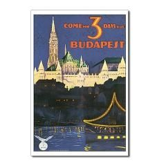 Budapest Hungary Postcards (Package of 8) Budapest  Hungary  Travel Poster Art  Cafe Retro