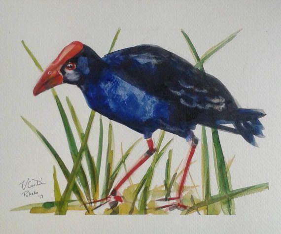 Pukeko  original watercolour painting by Vicky Curtin