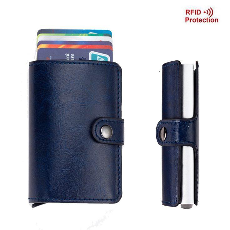 Uomini Portafogli Sottile Mini Portafoglio RFID antifurto Automatica Porta Biglietti Da Visita Pop Up Raccoglitore di Alluminio Della Carta di Credito Holder Protector