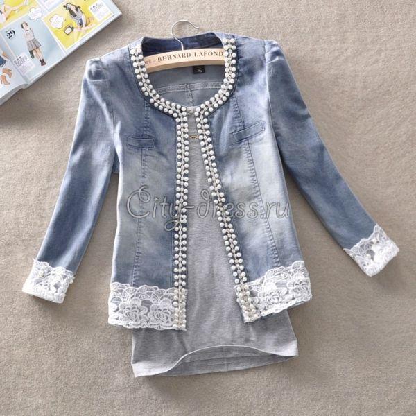 Фото джинсовая куртка с кружевом и бисером