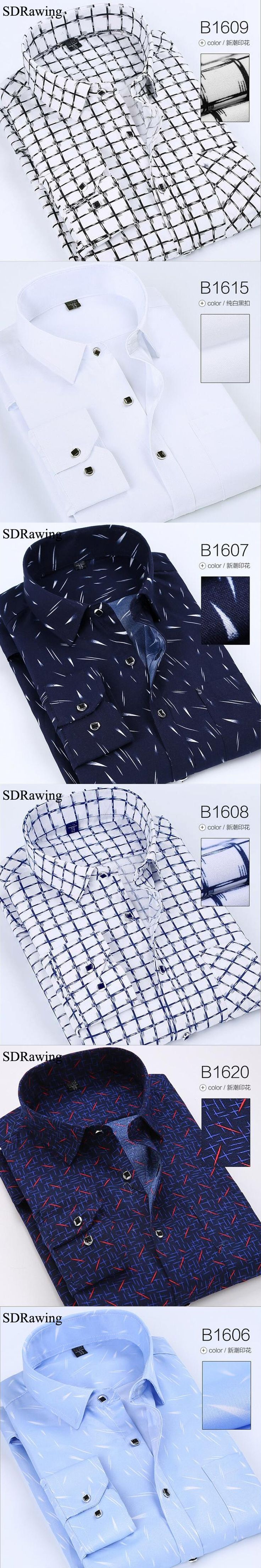 Brand Social Shirts Men Long Sleeve Oxford Shirts Men 2017 Spring Clothing Cotton Blends Business Casual Men Shirts 4XL 26styles