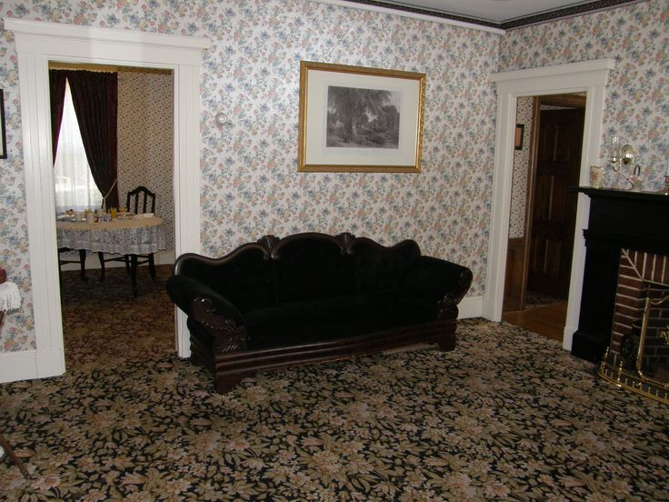 The murder sofa in Lizzie Borden's now bed and breakfast in Mass. Make a reservation if you dare...