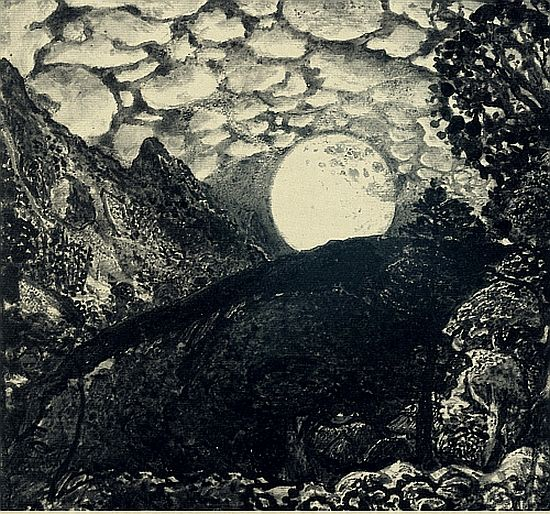 Samuel Palmer - Shepherds under a full moon